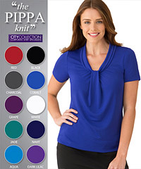 One of Australia's best selling Womens Uniform Clothing Products, the Pippa Top #2222 With Logo Service. Effortless Dressing, Cool and Comfortable. Matte jersey with a soft draped neckline. Features an elegant gatherered front. 10 Colours- Aqua, Grape, Red, Black, Navy, Charcoal, Jade, Cobalt, White, Dark Lilac. Bulk Order 1800 654 990