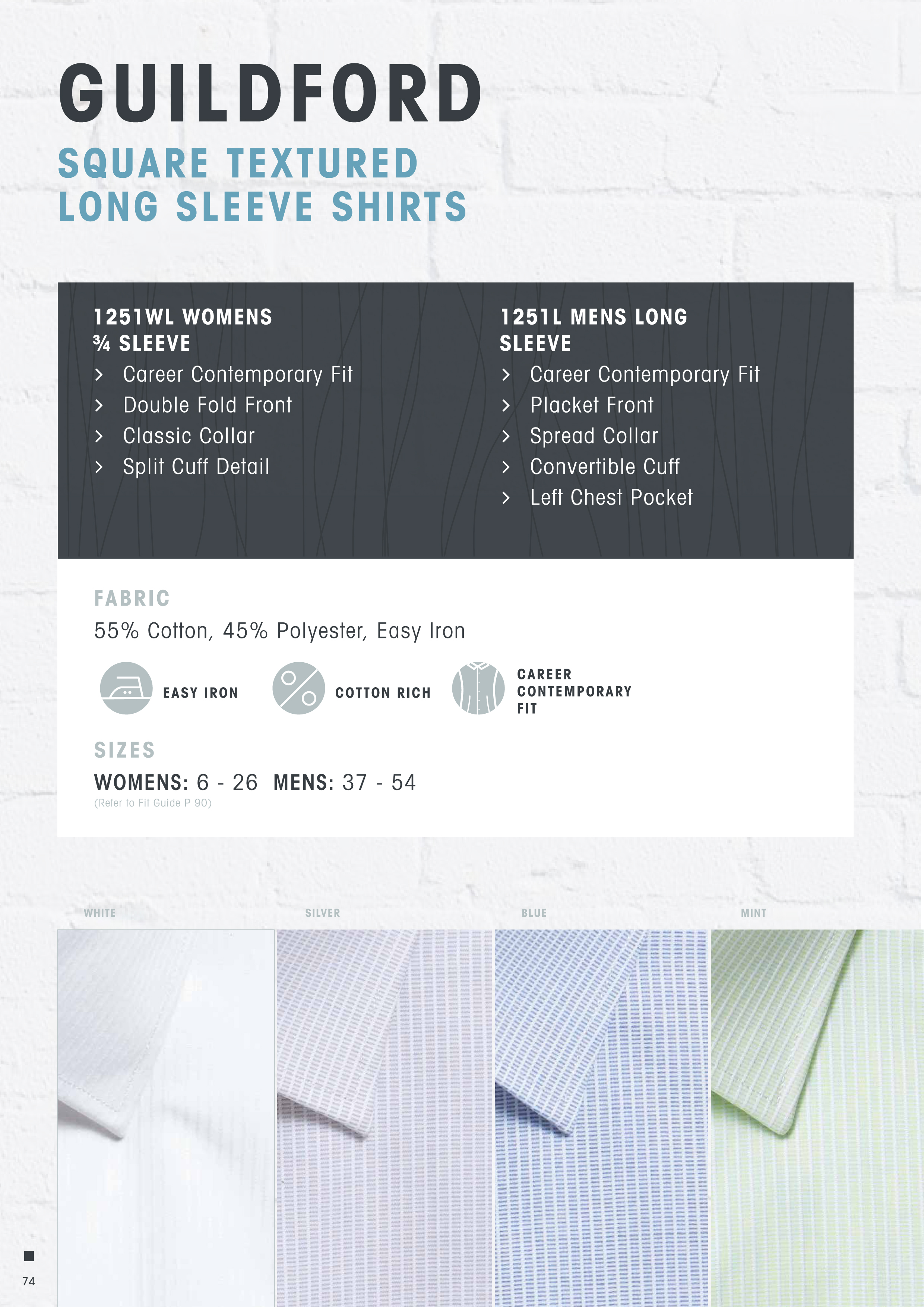 Guildford Corporate Shirt #1251L by Gloweave With Logo Service Colour Card. Available White, Blue, Silver and Mint. Mens has a Chest Pocket. Mens can be worn with a Tie or Open Neck. Cotton Rich 55% with Easy Iron Treatment. Mens Sizes up to Size 54. Corporate Sales Call Free 1800 654 990