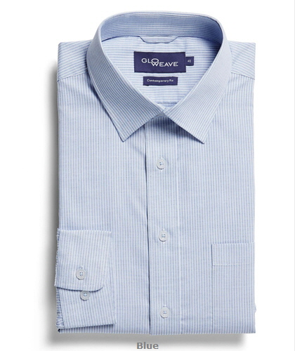 Square Dobby Premium Corporate Shirt #1251L #BLUE With Logo Service