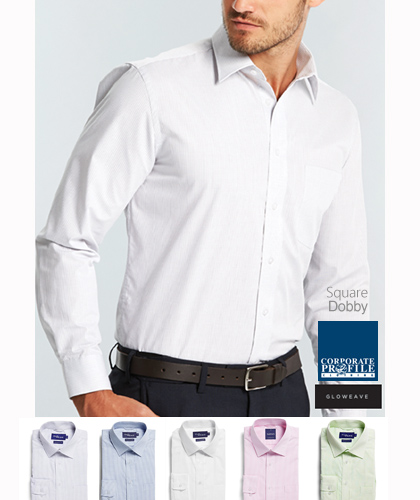 Square Dobby Premium Corporate Shirt #1251L With Logo Service. One of our favourites for upscale customer requirements. Colours include Mint, Pink, Silver, White and Blue. Mens Long Sleeve and Ladies Three Quarter Sleeve. Easy Care CVC Shirt Fabric is 55% Cotton 45% Polyester. Mens Sizes from 37 To King Size 54 and Ladies 6-26. For all the details and to arrange a Sample for Inspection please call Renee Kinnear or Shelley Morris on FreeCall 1800 654 990.