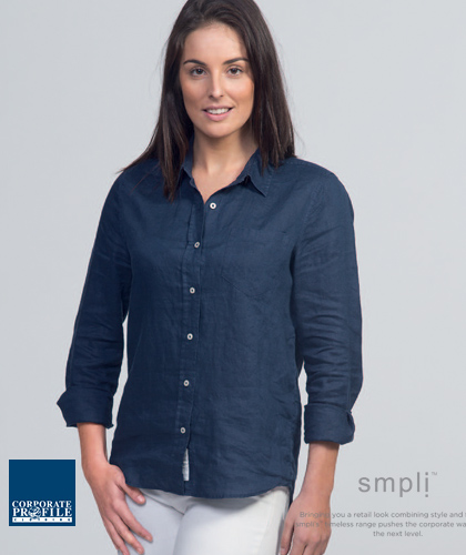 Linen-Shirts-Navy-and-White-Ladies-#WSIL-for-Corporate-Wear-With-Logo-Service