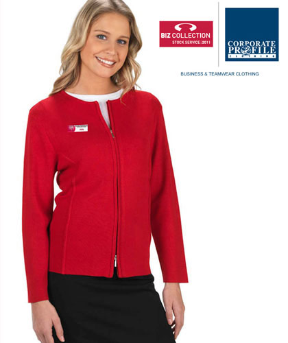 Biz for Business Wear! Ladies Red Cardigan With 2 Way Zip #LC3505 Corporate Uniforms and Outfits with Logo Service. Available in Navy, Black, Charcoal and Red. Lovely soft Viscose, Nylon with modern fashion style. Sizes S to 4XL. Ideal for business uniforms. Great Brands, Great Prices. For all the details please call Renee Kinnear or Shelley Morris on FreeCall 1800 654 990