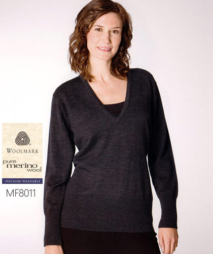 'Monday To Friday' Corporate Knitwear with Australian Woolmark.  Ladies extended v-neck pullover with deep rib basque #MF8011. Monday to Friday is a range of stock service knitwear designed for everyday wear in a corporate environment. Enhance the corporate image of your organisation with a new professional look. Enquiry please call Renee Kinnear or Shelley Morris on FreeCall 1800 654 990.