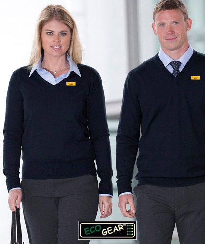 Notice the special 'flat knit' vee neck binding detail which makes this such a stylish, appealing pullover. The Eco Gear Merino Detailed Vee Wool Pullover Mens #EGMDP and Ladies #WEGMDP with logo embroidery service. Available Black and Navy. For more details the best idea is to call Renee Kinnear or Shelley Morris on FreeCall 1800 654 990.