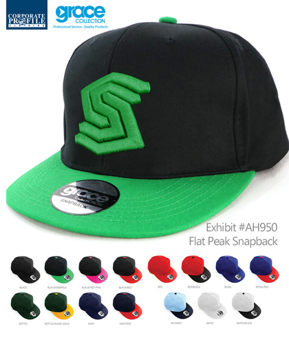 Promotional Flat Peak Snapback Cap #AH950 With Logo Service. Popular for Kids Sports Clubs. Local Stock Service and Custom Headwearat promotional prices. The Snapback Cap features sporty contrast panels on the crown and peak. Stock service in 15 Team Colour combinations. Awesome for Sports, Special Events, Club Members, Schools. Enquiries FreeCall 1800 654 990