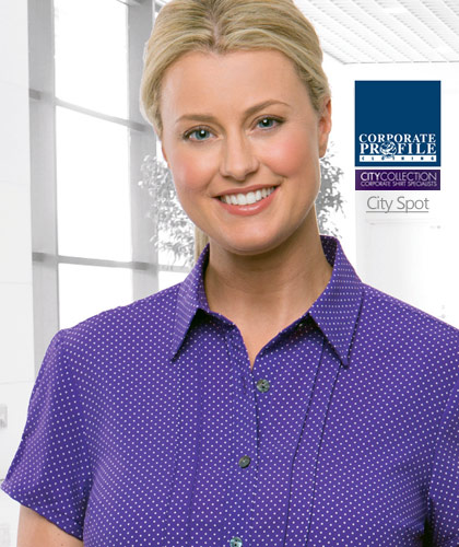 Corporate Healthwear Ladies Spot Shirt #2173 With Logo Service. Lilac, navy, Black, Blue, Cobalt, Grape, Red, Teal. Cap Sleeve #2173, Three Quarter Sleeve #2172  Easy care, quick drying and extremely durable. Dressing For Work Made Easy. Introducing the latest range from City Collection. Designed by Women for Women and setting the fashion standard in corporate dressing, this elegant collection presents contemporary styles that are versatile for many workplace requirements. Corporate enquiry please FreeCall 1800 654 990