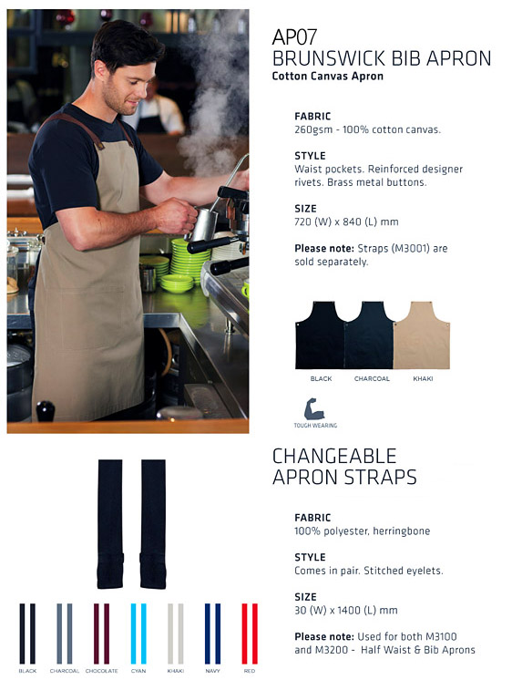 Reliable Cotton Canvas Apron available Black, Charcoal, Khaki with choice of changeable Straps. Aprons have waist pockets, reinforced designer rivets, Brass metal buttons. 72cm x 84cm. Logo service with print or Embroidery. All the details at Corporate Profile FreeCall 1800 654 990