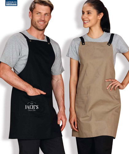 Black Bar Apron available in Bib #AP07 and Half Waist . Also Charcoal, Khaki with choice of changeable Straps. Aprons have waist pockets, reinforced designer rivets, Brass metal buttons. 72cm x 84cm. Logo service with print or Embroidery. All the details at Corporate Profile FreeCall 1800 654 990