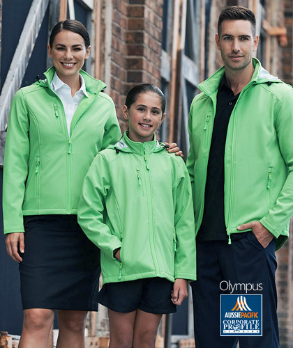 Outstanding Green Mens #1513 and Womens #2513 Softshell jackets in Company and Club Colours. Includes Red, Green, Cyan Blue, Royal, Navy, Black and Slate Grey. Top performance fabric, womens jacket has a shaped tail for added warmth. Includes a hood. Bonded fleece on the inside for snug warmth. WP3000 BP3000. Also available in Boys and Girls for Schools and Local Sports Clubs. Please call Shelley Morris or Deb Gerahty Call Free 1800 654 990