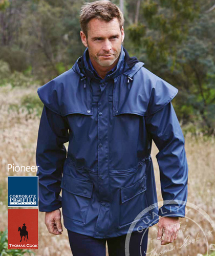 Pioneer Short Coat #TCP1714041 With Corporate Logo Service. Thomas Cook Boot and Clothing, Waterproof 3000mm, Sizes XXS, XS, SM-3XL. Available Black, Dark Brown, Navy. Double storm cuffs, mesh air vent, rivets at stress points, double storm front placket flaps, concealed hood, inner draw cord. Also in Long Coat #TCP1711041. Corporate Distributor is Corporate Profile Clothing, FreeCall 1800 654 990.