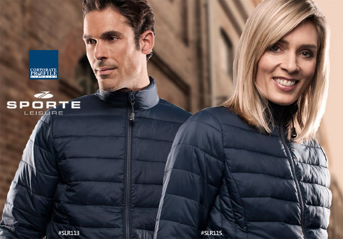 Inspect a Sample of the Sporte Whistler Soft Tech Premium Puffer Jacket #SLR113 and Womens #SLR115. This lightweight jacket will keep you warm and protected from chilly winds with Down like Insulation. Available in Black and Midnight Navy. Ideal for Company Outfits, Speciual Events and Club Teamwear. Corporate Sales FreeCall 1800 654 990.