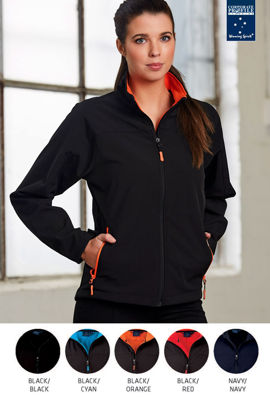 Versatile range of Softshell Jackets for Corporate, Business and Clubs. Plain Solid Navy, Black and company colour combinations in Black/Red, Black/Orange, Black/Cyan Blue. Mens and Ladies. Comfortable fit, contemporary retail styled. Enquiries Corporate Profile Clothing FreeCall 1800 654 990