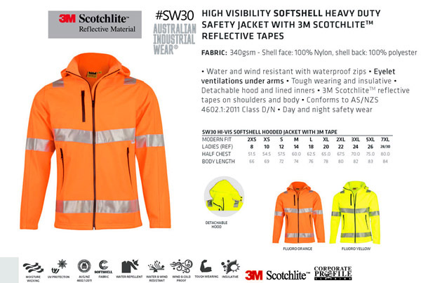 Hi Vis Work Jacket with 3M Reflective Tape, Softshell with a Hood #SW30. Available in Unisex Sizes from 2XS to 7XL in Fluoro Orange and Fluro Yellow. Water and Wind Resistant with waterproof zipes.Eyelet ventilation under arms. Insulative warmth for cold climate. Tough last lasting wearing.3M Scotchlite reflective tapes on shoulders and body. Australian Standards for Day/Night Safety Wear. AS/NZS 4602.1:2011. Sales FreeCall Corporate Profile Work Clothing 1800 654 990