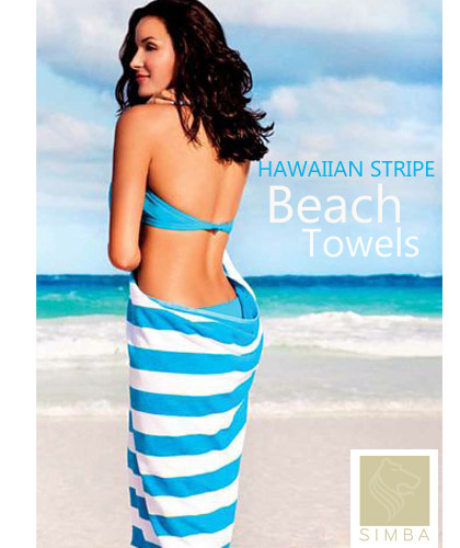 Large Hawaiian Stripe Beach Towels with Logo Embroidery Service, 100 x 175cm ideal for  Gifts, Beach Events, Summer Sports Clubs. For all the details the best idea is to call Renee Kinnear on FreeCall 1800 654 990.