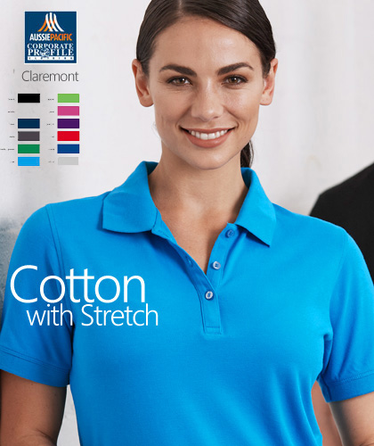 There are 12 colours available in the Aussie Pacific Claremont Range. The Claremont is a comfortable, contemporary polo shirt with the natural feeling of cotton. Cotton Colours Navy, Black, White, Red, Slate, Kelly Green, Cyan, Apple, Pink, Purple, Royal, Silver.The 200 gsm is a mid weight Pique fabric. Corporate Sales please Free Call 1800 654 990
