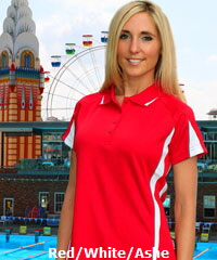 Red and White Polo Shirt for Uniform Outfits and Sporting Clubs Eureka #1304 With Logo Service
