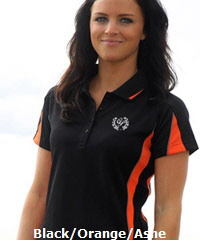 Black and Orange Polo Shirt for Uniform Outfits and Sporting Clubs Eureka #1304 With Logo Service