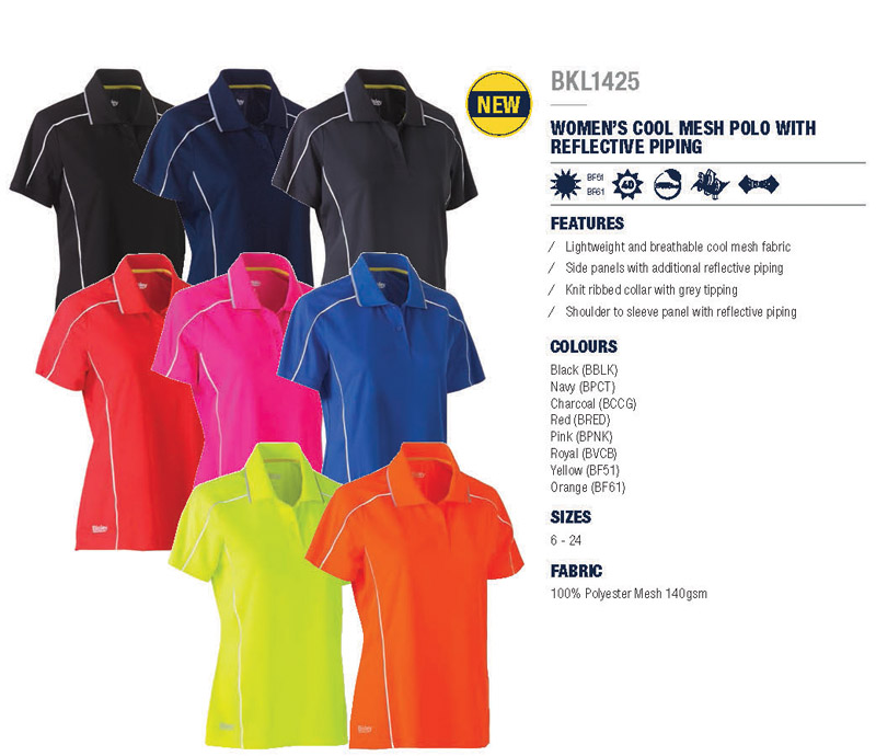 Outstanding uniform polo's company colours Black, Navy, Charcoal, Red, Pink, Royal, Yellow and Orange. All with Reflective Piping. Mens and Womens Large range of sizes. Lightweight and Breathable. Shoulder to Sleeve panel with reflective piping. Corporate Profile Workwear FreeCall 1800 654 990