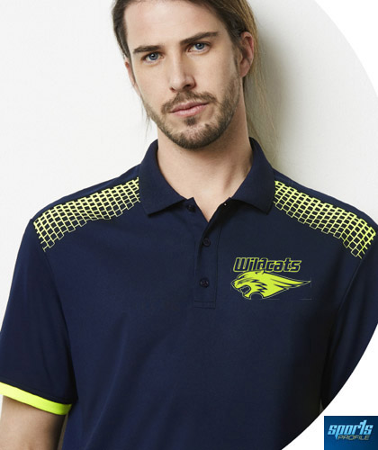 A striking print design, a new concept Galaxy #P900MS has print acrosss the front of shoulders and acrosss the back under the collar. The Polo also features patterned side mesh at the sides to improve ventilation for the wearer. There are 9 team colours, polo's can be printed or embroidery.Ideal for workplace or sports industry. For all the details please FreeCall 1800 654 990