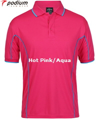 Podium Piping Polo #7PIP Pink and Aqua Polo With Logo Printing Service. The Best in Basics polo shirt for durable Work Shirt performance, Sport Club and School wear. Fantastic quality Podium Cool moisture wicking fabric helps to keep you cool and dry in hot and humid weather. Complies with Australian Standard AS/NZS 4399:1996 Quick Drying, 100% Polyester, No Ironing, 160 gsm. Womens #7LPI and School Kids #7PIPS. 20 Colours available. Extensive range of Sizes. Corporate Sales FreeCall 1800 654 990