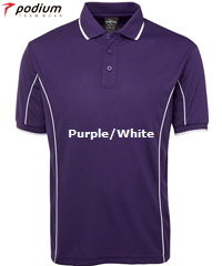 Podium Piping Polo #7PIP Purple and White With Logo Printing Service. The Best in Basics polo shirt for durable Work Shirt performance, Sport Club and School wear. Fantastic quality Podium Cool moisture wicking fabric helps to keep you cool and dry in hot and humid weather. Complies with Australian Standard AS/NZS 4399:1996 Quick Drying, 100% Polyester, No Ironing, 160 gsm.Womens #7LPI and School Kids #7PIPS. 20 Colours available. Extensive range of Sizes. Corporate Sales FreeCall 1800 654 990