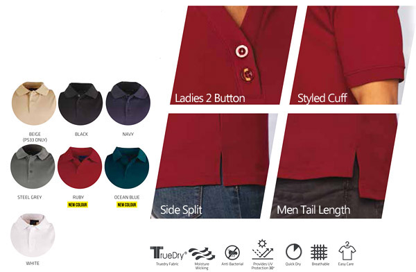 Long Sleeve Polo for Business Outfits. Available in Black, White, Navy, Ruby Red, Ocean Blue, Steel Grey and Beige Corporate Profile Clothing FreeCall 1800 654 990