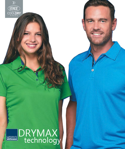 DryMax Corporate Polo Shirt #1062 and Womens Polo #1162, With Logo Service. Perfect for Queensland customers and hot weather locations. Available White/Navy, Green/Navy, Mid Blue/Navy, Navy/Silver, Charcoal/Black, Black/Charcoal. The new DryMax technolgy fabric manages heat and moisture, helps to keep skin dry all day. The fabric features a fashionable pinhead-weave. Corporate Sales please Call Free 1800 654 990