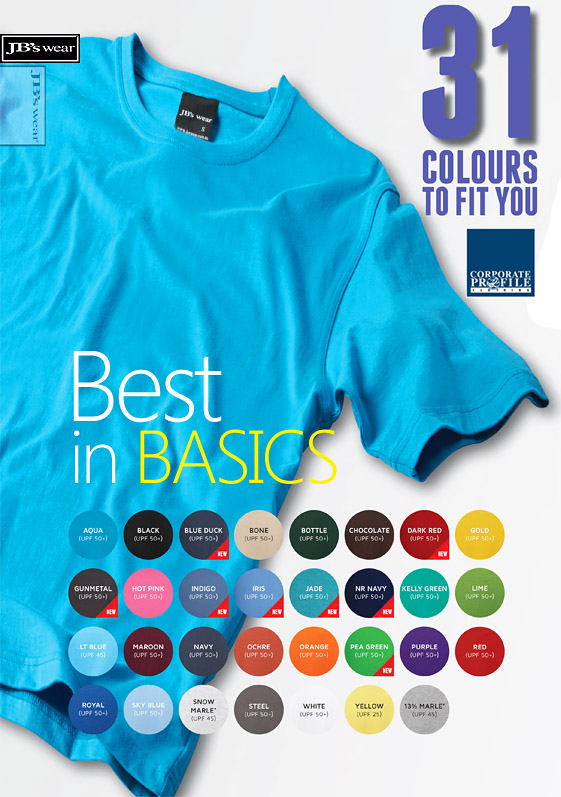 Best in Basic T-Shirts #1HT With Printing Service Sydney Colour Card 500px