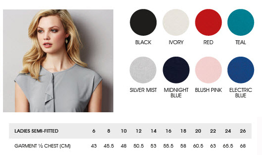 Biz Collection Mia Top With Pleat Fold #K624LS Colour Card. Womens Contemporary Uniform Top, with beautiful pleat fold detail, slightly offset to allow space for a company logo or badge if required. Made from soft jersey knit that flatters without clinging. Enquiries FreeCall 1800 654 990