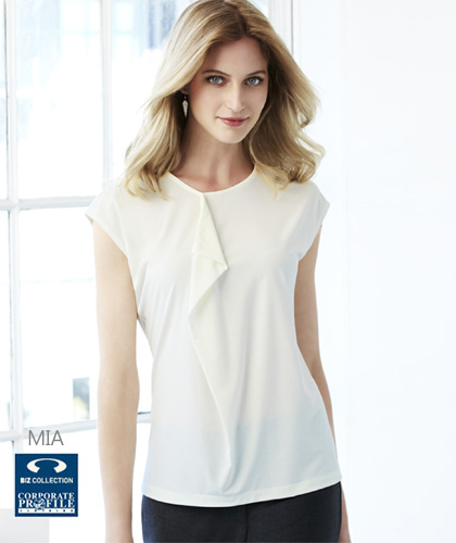 Biz Collection Mia Top With Pleat Fold #K624LS (Ivory) Womens Contemporary Uniform Top, with beautiful pleat fold detail, slightly offset to allow space for a company logo or badge if required. made from soft jersey knit that flatters without clinging. Enquiries FreeCall 1800 654 990