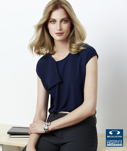 Biz Collection Mia Top With Pleat Fold #K624LS (Midnight Blue) Womens Contemporary Uniform Top, with beautiful pleat fold detail, slightly offset to allow space for a company logo or badge if required. Made from soft jersey knit that flatters without clinging. Enquiries FreeCall 1800 654 990