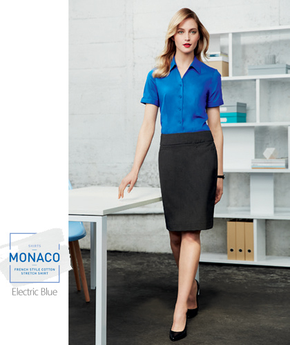 Monaco-Ladies-Y-Front-Uniform-Shirt-#S770LL_(Electric-Blue)-With-Logo-Service-Standing-420px