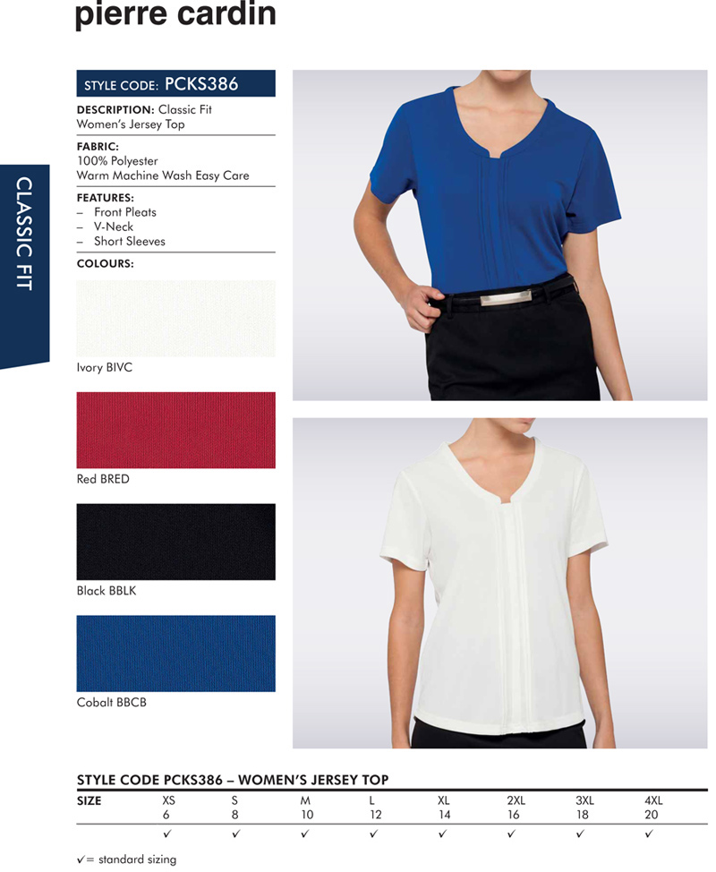 Pierre Cardin Womens Jersey Top #PCKS386 With Logo Service..flattering womens top with longer length...a wonderful choice for Company and Business Employee Outfits...may be embroidered with logo, classic fit, 100% polyester, warm machine washable. Four colours, Black, White, Red, Royal. Corporate Sales Enquiry FreeCall 1800 654 990