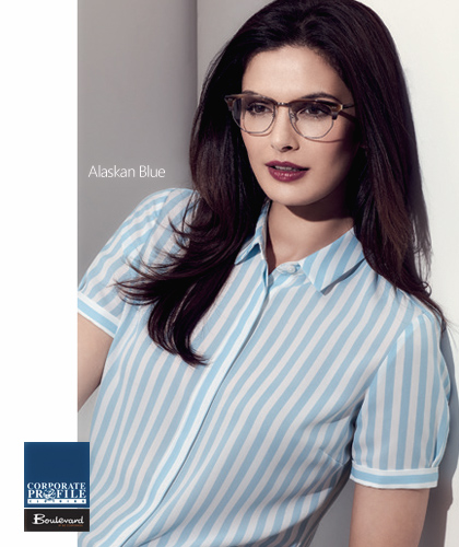 Verona-Stripe-Shirt-#43612-(Alaskan-Blue)-Ladies-Corporate-Shirt-With-Logo-Service