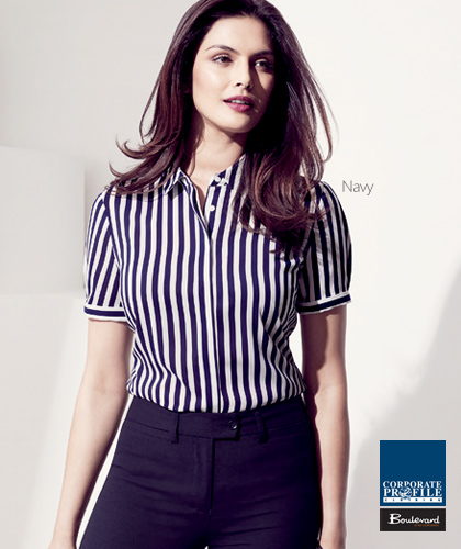 Verona-Stripe-Shirt-#43612-(Navy)-Ladies-Corporate-Shirt-With-Logo-Service
