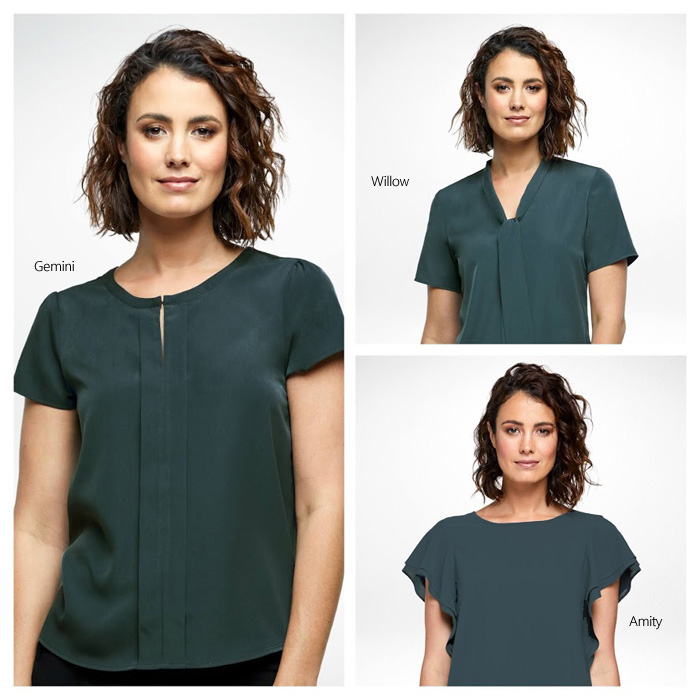 Stylish Charcoal Tops and Shirts for Australian Business and Corporate Wear. The styles include Amity with flutter sleeves, Harmony with Round Neckline, Echo with flowing sleeves, Aries with Off Centre Neckline. Perfectly priced for Corporate Packages. Free Call 1800 654 990