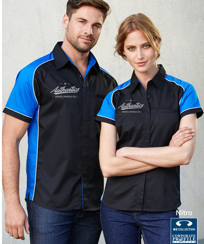 Inspect a Sample of the Biz Collection-Nitro Work Shirts in Company Colours #S10112, Eleven colour combinations for promotional and corporate uniforms.